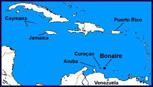 Mapa del Caribe y situación de Bonaire