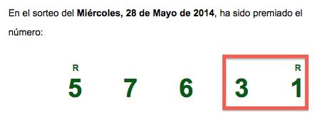 Sorteo ONCE 28/05/14